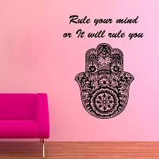 fatima hand wall decals quote rule your mind indian hamsa