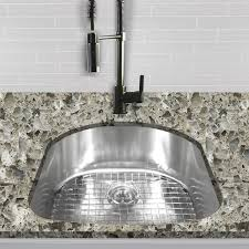 single d shape bowl premium 16 gauge kitchen sink with grid and drain