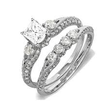 wedding ring set 2 carat certified princess cut diamond wedding ring set on 10k