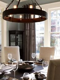 chandeliers gray dining room with wheel shaped chandelier hgtv