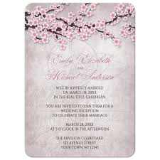 reception invitations only invitations rustic pink cherry blossom