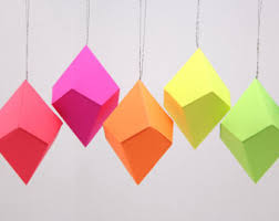 paper gem templates ornaments neon bright rainbow set of 8