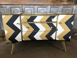 sold super cute vintage sideboard upcycled in chevron paper and gold