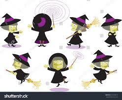 set cartoon halloween witches various poses stock vector 259128014
