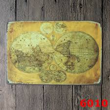 world map for vintage home decor tin sign coffee shop wall decor