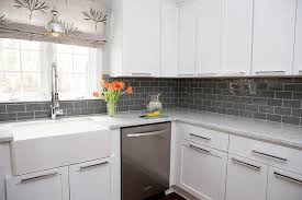 attractive kitchen white cabinets with gray subway tile backsplash