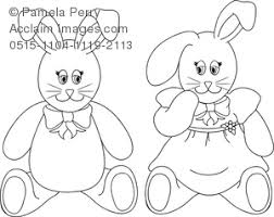 clip art image boy stuffed bunnies easter coloring