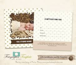 gift certificate photo card template photography templates