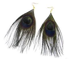 peacock feather earrings s black gold peacock feather earrings drop big vintage hook