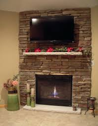 diy stacked stone fireplace facing fireplace ideas