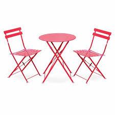 chaises salon de jardin salon de jardin bistrot pliable emilia rond framboise table