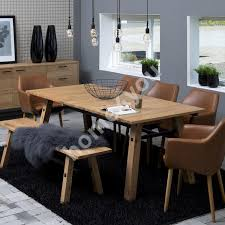 stockholm natural finish dining table dining set stockholm with 6 chairs ac55607 210x95xh75cm wood oak