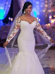 sexey wedding dresses the shoulder appliques mermaid sleeve plus size wedding
