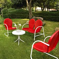 Metal Garden Table And Chairs Uk Amazon Com Crosley Furniture Griffith 4 Piece Metal Outdoor