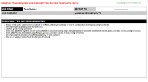Free Resume Builder With Job Descriptions by Tank Builder Job Description
