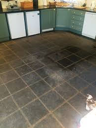 slate kitchen floor stripped cleaned and sealed lochwinnoch