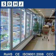 back up cold storage multiple glass door in supermarket used