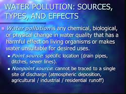 general types of water pollution ppt
