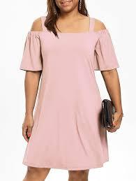 Light Pink Dress Plus Size Plus Size Cold Shoulder Half Sleeve Dress Light Pink Xl In Plus