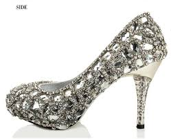 wedding dress shoes sparkly high heels pointed toe rhinestone wedding bridal