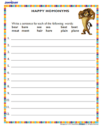 happy homonyms printable 2nd grade english worksheet jumpstart