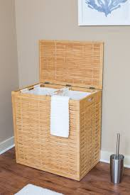 Laundry Hamper Double by Birdrock Home Oversized Bamboo Divided Laundry Hamper