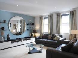 blue living room brown couch interior design