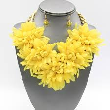 yellow necklace set images Jewelry yellow chrysanthemum flower necklace set poshmark jpeg