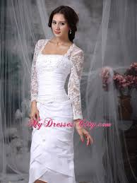 square tea length tiers lace short wedding dress with long sleeves
