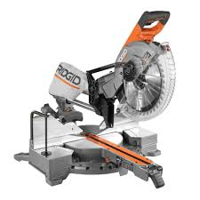 ridgid 15 amp 12 in corded dual bevel sliding miter saw with 70