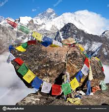 Tibetan Flags Mount Everest And Lhotse With Buddhist Prayer Flags U2014 Stock Photo