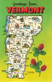 usa map vt vermont state map vintage postcard greetings from by