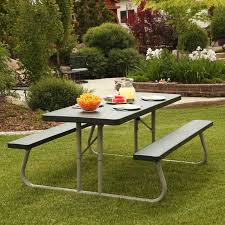 vintage look lifetime outdoor folding picnic table with rectangle