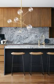 Marble Backsplash Kitchen by Grey Marble Backsplash Natural Wood Cabinets Modern Kitchen