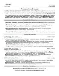personnel specialist sample resume retirement plan specialist resume