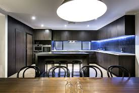 kitchen design black wooden kitchen cabinet and blue led strip