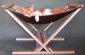 cat hammock with wood stand by cat above