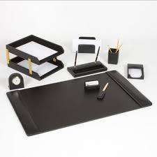 Desk Office Accessories by Leather Desk Set 10 Piece Black Gold Leather Desk Sets