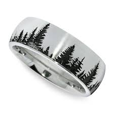 carved wedding band laser carved pine tree pattern men s wedding ring in cobalt