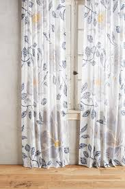 Blue And Yellow Shower Curtains And Blue Leaves Print Curtain