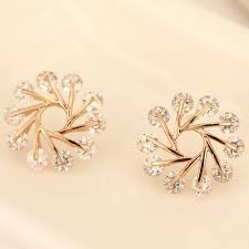 ear studds luxurious cubic zirconia snowflake fashion ear studs gold