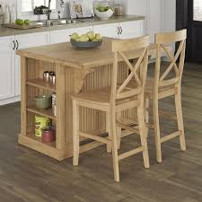 shop home styles brown midcentury kitchen island with 2 stools at