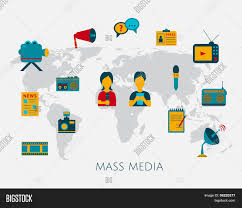 Flat Map Of The World Mass Media Journalism News Concept Flat Business Icons Of