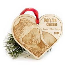 personalized christmas ornaments baby baby s christmas ornament laser engraved wood photo heart