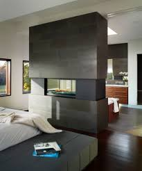 double sided fireplace bedroom contemporary with contemporary