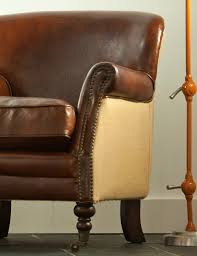 Vintage Brown Leather Chair Vintage Leather And Linen Armchair At Rose U0026 Grey Vintage Leather