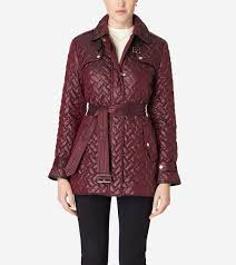 single breasted quilted trench coat in cabernet cole haan