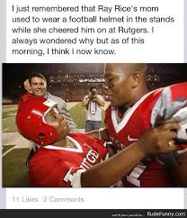 Ray Rice Memes - the real reason ray rice s mom wore a helmet to his games http