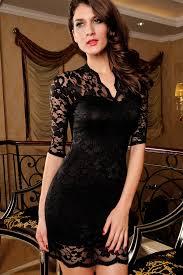ladies v neck mini slim lace dress clubwear half sleeves black