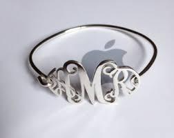 monogram bracelet sterling silver monogrammed bracelet etsy